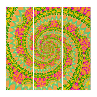 Flower Power Spiral SUNNY Triptych