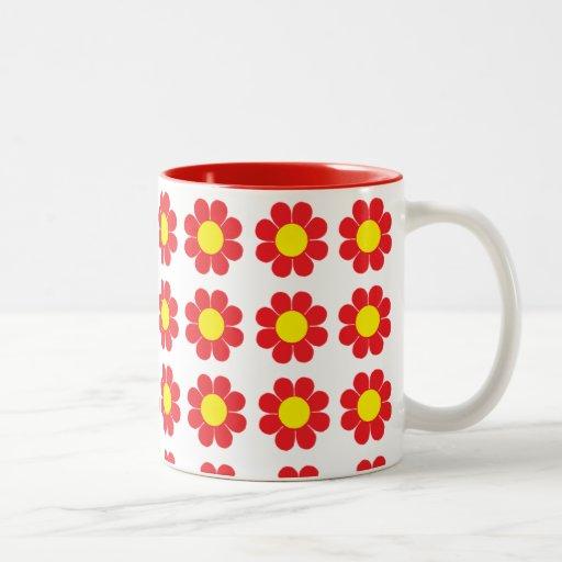 Flower power taza de café de dos colores