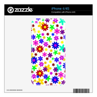 FLOWER POWER transparent (pick a background color) Decals For The iPhone 4S