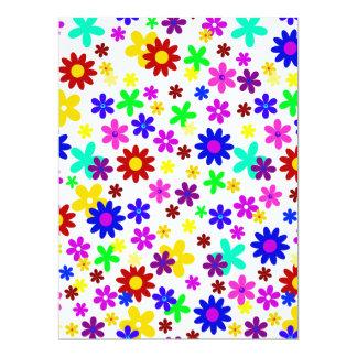 """FLOWER POWER transparente (escoja un color de Invitación 6.5"""" X 8.75"""""""
