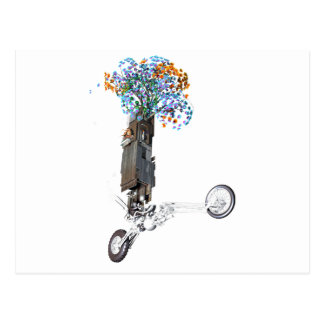 Flower Power Tree House Wheelie Postcard