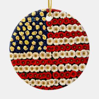 Flower Power US Banner Christmas Tree Ornaments