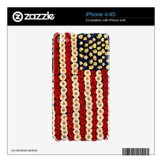 Flower Power US Banner Decal For The iPhone 4S