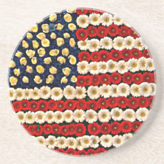 Flower Power US Banner Drink Coaster