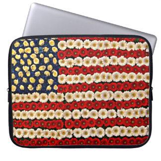 Flower Power US Banner Laptop Sleeves