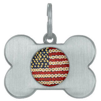 Flower Power US Banner Pet ID Tag