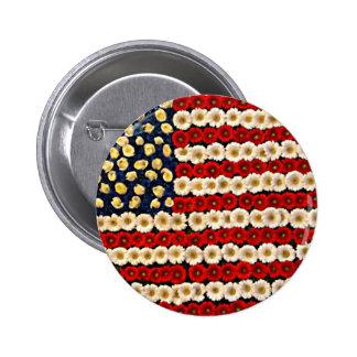 Flower Power US Banner Pinback Buttons