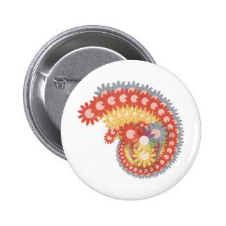 Flower Power Vintage Pinback Button