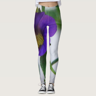 Flower Power! Vivid Purple Pansy on White Leggings