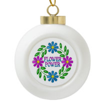 Flower Power Wreath Ceramic Ball Christmas Ornament
