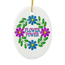 Flower Power Wreath Ceramic Ornament