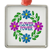 Flower Power Wreath Metal Ornament