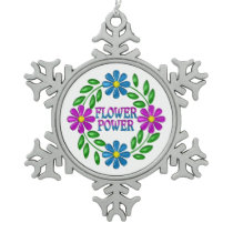 Flower Power Wreath Snowflake Pewter Christmas Ornament