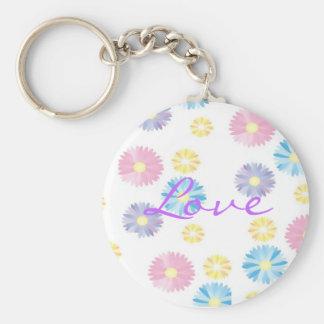 Flower Print Love Keychain