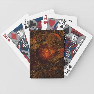 Flower Print Orange Burst Rose Bicycle Playing Cards