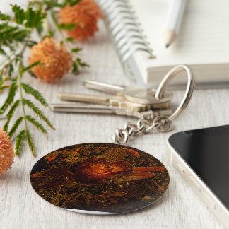 Flower Print Orange Burst Rose Key Chains