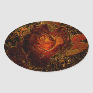 Flower Print Orange Burst Rose Oval Sticker