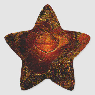 Flower Print Orange Burst Rose Star Sticker