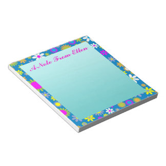 Flower Profusion Blue Notepad