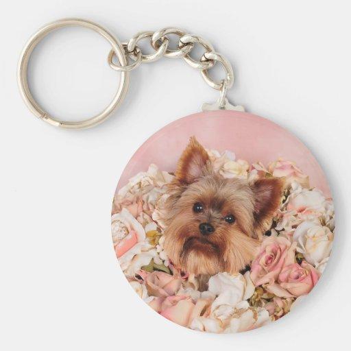 Flower pup basic round button keychain