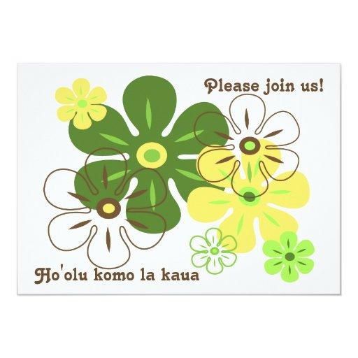 Flower Rain Tropical Luau Invitations