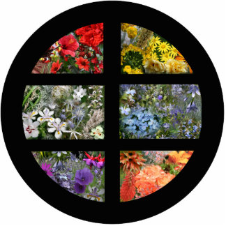 Flower Rainbow in Stained Glass Black Frame Cutout