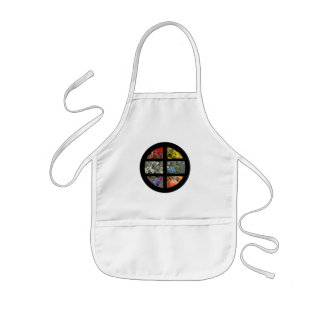 Flower Rainbow in Stained Glass Black Frame Kids' Apron
