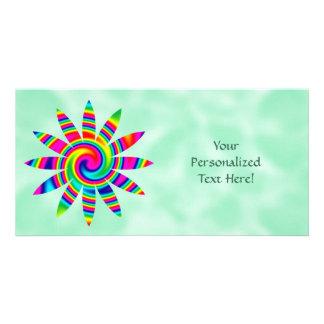 Flower Rainbow Twirl Photo Card