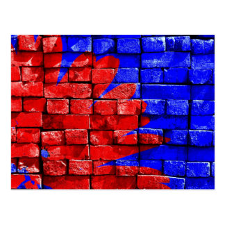 Flower, Red and Blue Brick Wall Postcard
