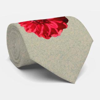 Flower Red Dahlia Photo Neck Tie