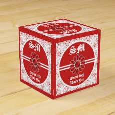 Flower Red Sweet 16th SQ Favor Box 1