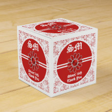 Flower Red Sweet 16th SQ Favor Box 2