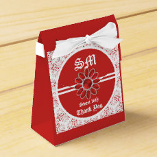 Flower Red Sweet 16th Tent Favor Bag Favor Box