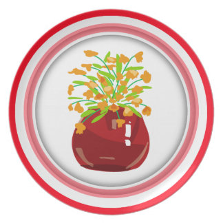 Flower Red Vase Plate