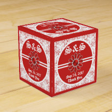 Flower Red Wedding SQ Favor Box 1