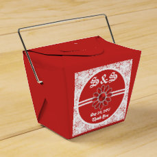 Flower Red Wedding Take Out Favor Bag 1 Favor Box