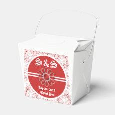 Flower Red Wedding Take Out Favor Bag 2 Favor Box