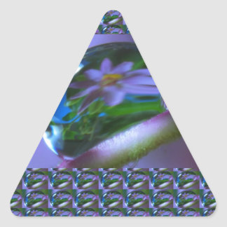 Flower REFLECTION on a DEW DROP .  lowprice GIFTS Triangle Sticker