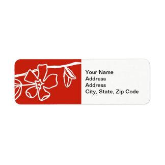 Flower Return Address Label , line floral pansy .
