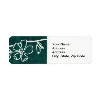 Flower Return Address Label , line floral vinca .