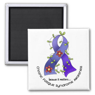 Flower Ribbon 1 CFS Chronic Fatigue Syndrome Magnets
