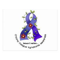 Flower Ribbon 1 CFS Chronic Fatigue Syndrome Postcard