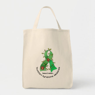 Flower Ribbon 1 Tourette's Syndrome Tote Bags