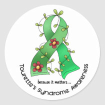Flower Ribbon 1 Tourette's Syndrome Classic Round Sticker