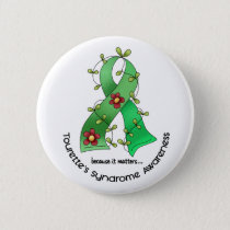 Flower Ribbon 1 Tourette's Syndrome Pinback Button