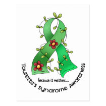 Flower Ribbon 1 Tourette's Syndrome Postcard