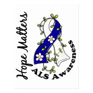 Flower Ribbon 4 Hope Matters ALS Postcard