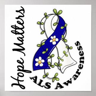 Flower Ribbon 4 Hope Matters ALS Poster