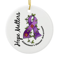 Flower Ribbon 4 Hope Matters Alzheimer's Disease Ceramic Ornament