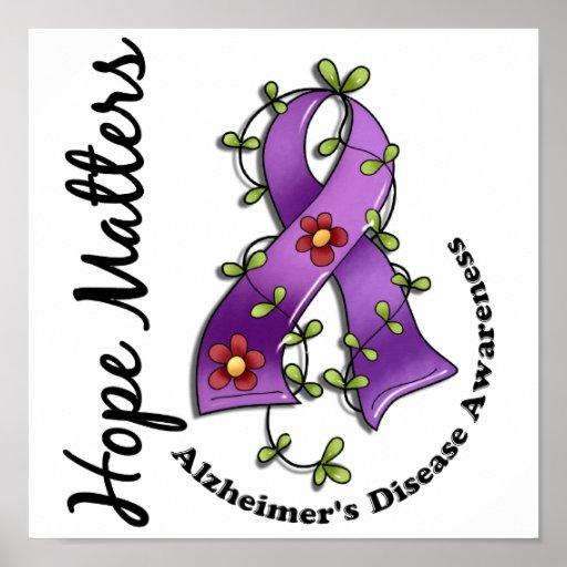 Flower Ribbon 4 Hope Matters Alzheimer's Disease Poster